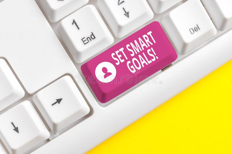 Writing note showing Set Smart Goals. Business photo showcasing list to clarify your ideas focus efforts use time wisely. Writing note showing Set Smart Goals royalty free stock image