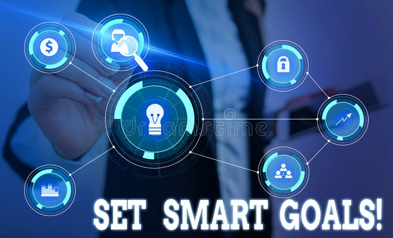 Writing note showing Set Smart Goals. Business photo showcasing list to clarify your ideas focus efforts use time wisely. Writing note showing Set Smart Goals stock image
