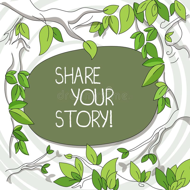 Writing note showing Share Your Story. Business photo showcasing telling everyone about your moments or experience Tree. Writing note showing Share Your Story stock illustration