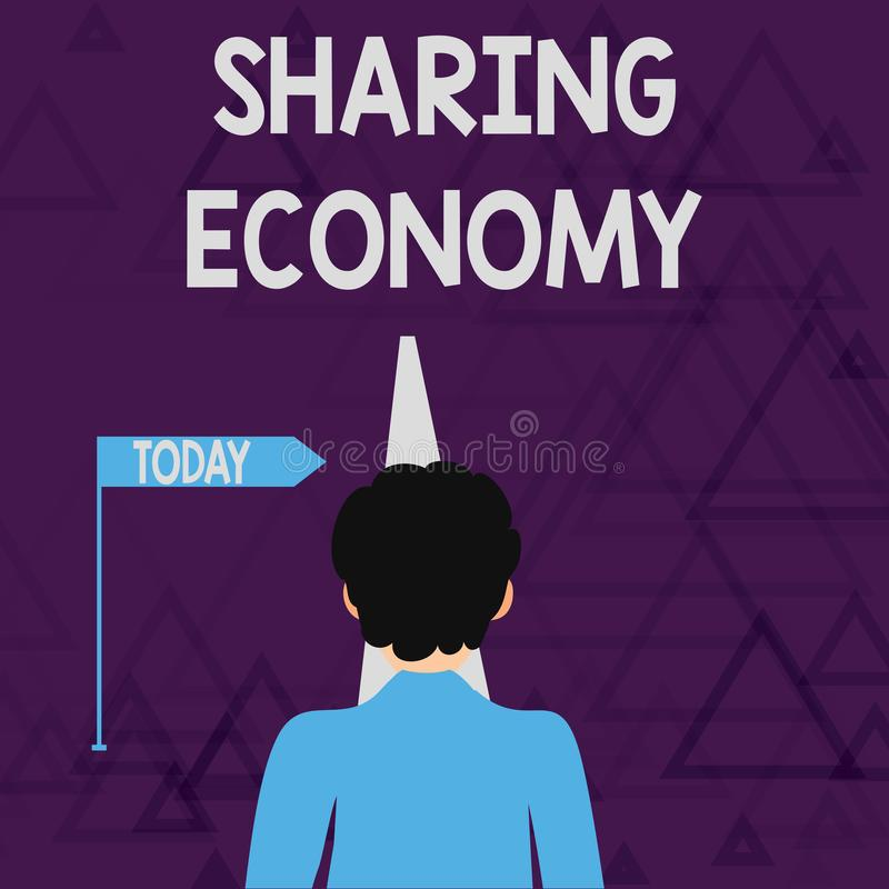 Free Writing Note Showing Sharing Economy. Business Photo Showcasing Economic Model Based On Providing Access To Goods Man Stock Images - 150573814