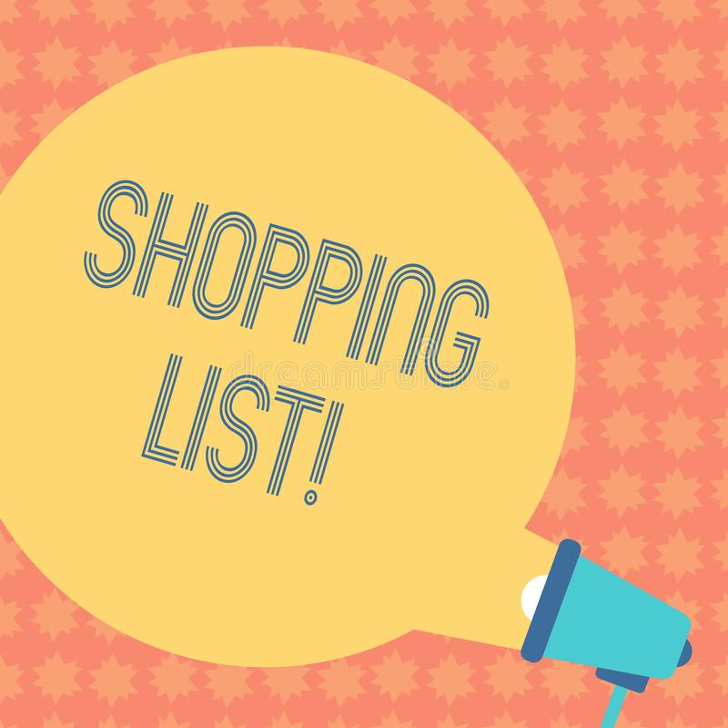 Writing note showing Shopping List. Business photo showcasing Products Groceries you need to buy Supermarket Checklist Round stock photo