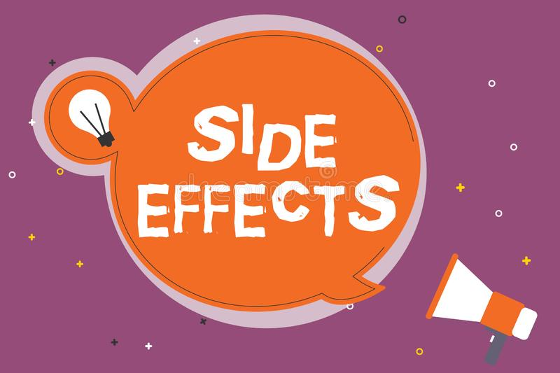 Writing note showing Side Effects. Business photo showcasing An unintended negative reaction to a medicine and treatment.  vector illustration