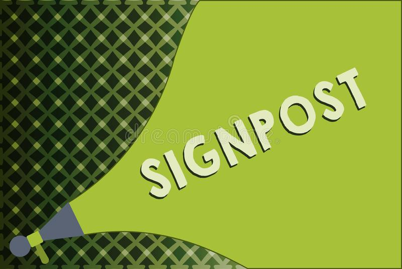 Writing note showing Signpost. Business photo showcasing sign giving information such direction and distance nearby town.  vector illustration