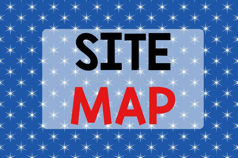 Writing note showing Site Map. Business photo showcasing designed to help both users and search engines navigate the. Writing note showing Site Map. Business stock illustration