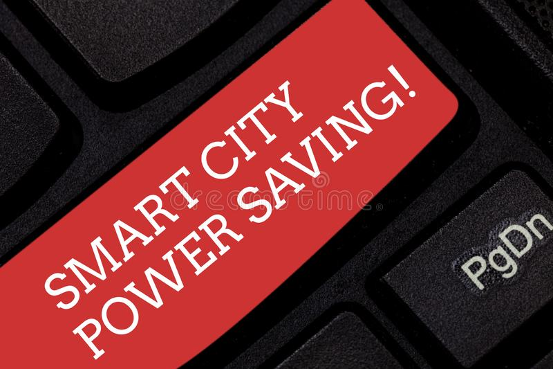 Writing note showing Smart City Power Saving. Business photo showcasing Connected technological cities electricity. Savings Keyboard key Intention to create stock photography