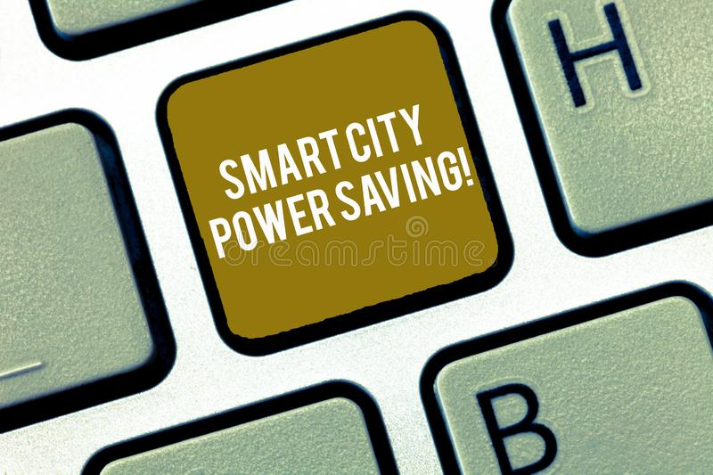 Writing note showing Smart City Power Saving. Business photo showcasing Connected technological cities electricity. Savings Keyboard Intention to create royalty free stock image