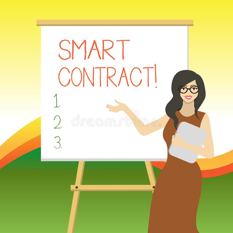 Writing note showing Smart Contract. Business photo showcasing the computer protocol running on top of a block chain. Writing note showing Smart Contract royalty free illustration