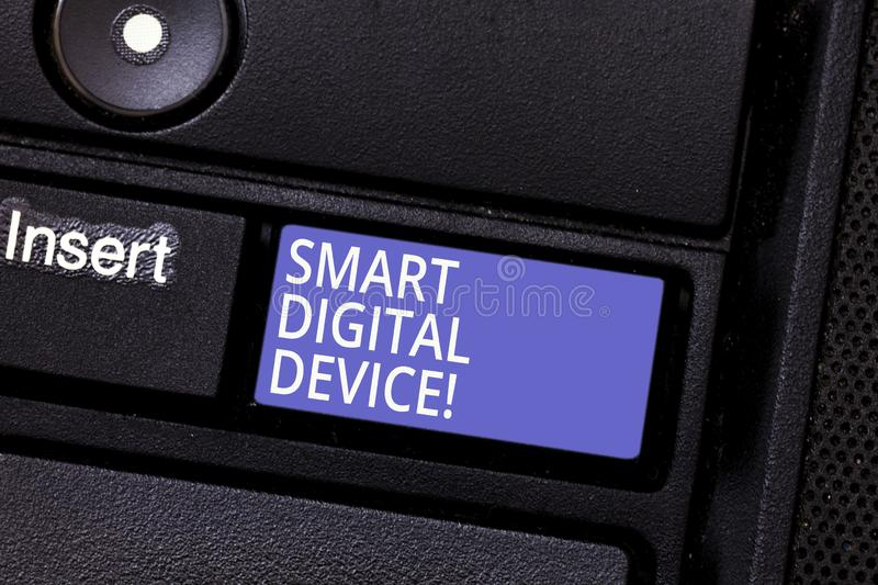 Writing note showing Smart Digital Device. Business photo showcasing equipment that has a computer or microcontroller. Keyboard key Intention to create computer royalty free stock images