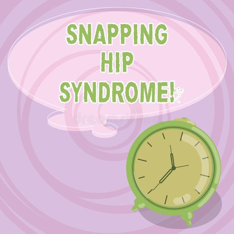 Writing note showing Snapping Hip Syndrome. Business photo showcasing audible snap or click that occurs in or around the hip Blank. Color Thought Speech Bubble stock illustration
