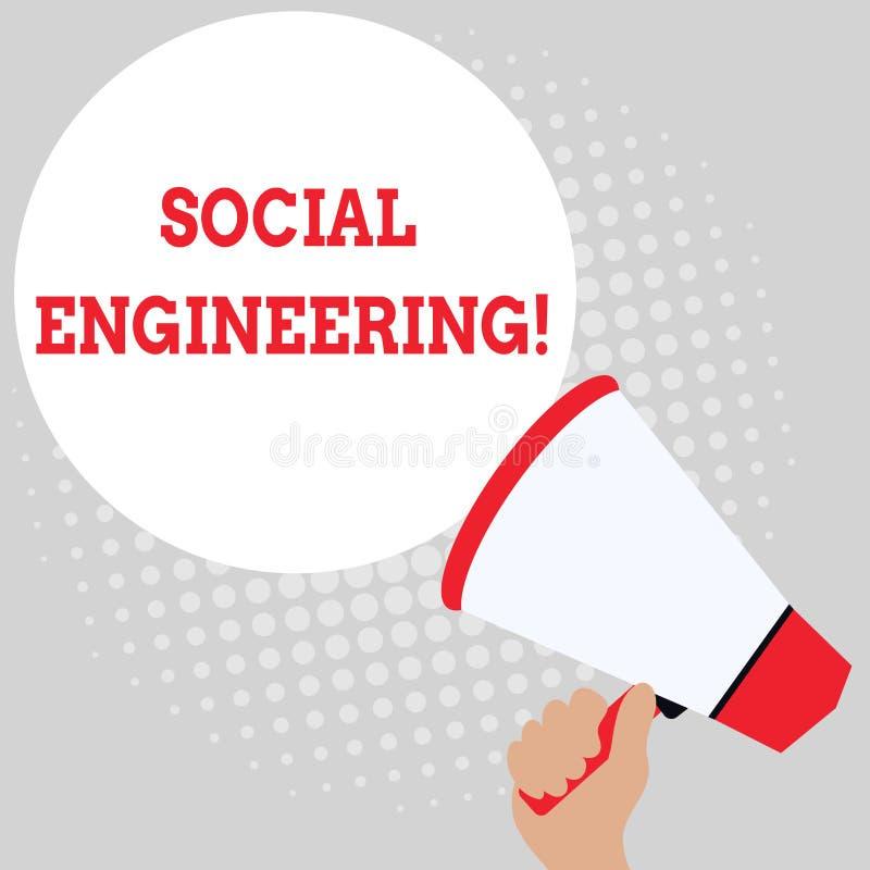 Writing note showing Social Engineering. Business photo showcasing Psychological Manipulation Gain Access thru Fraud. Writing note showing Social Engineering stock illustration