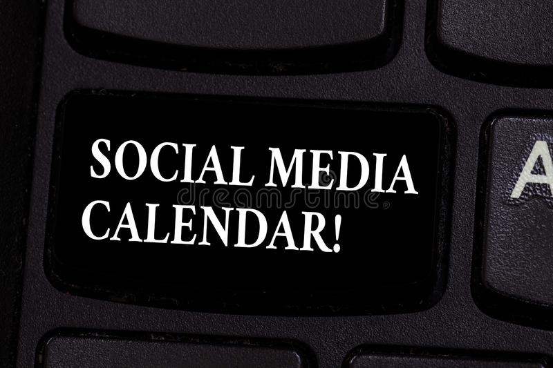 Writing note showing Social Media Calendar. Business photo showcasing apps used to schedule social posts in advance. Keyboard key Intention to create computer stock image