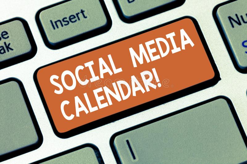Writing note showing Social Media Calendar. Business photo showcasing apps used to schedule social posts in advance. Keyboard key Intention to create computer stock photos