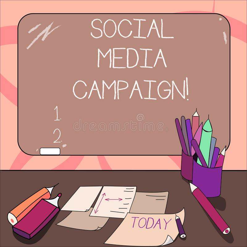 Writing note showing Social Media Campaign. Business photo showcasing Use of social networks to promote brands or. Services Mounted Blackboard with Chalk royalty free illustration