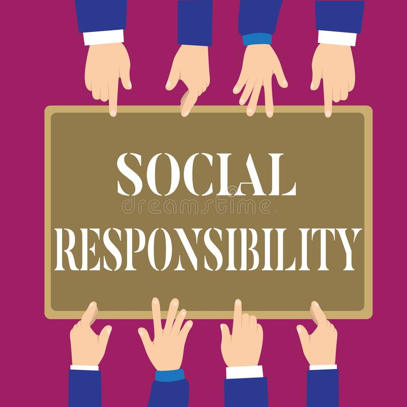 Writing note showing Social Responsibility. Business photo showcasing Obligation for the Benefit of Society Balance in. Life stock illustration