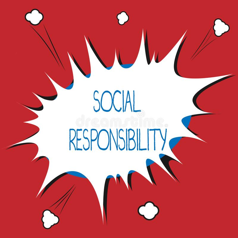 Writing note showing Social Responsibility. Business photo showcasing Obligation for the Benefit of Society Balance in. Life vector illustration