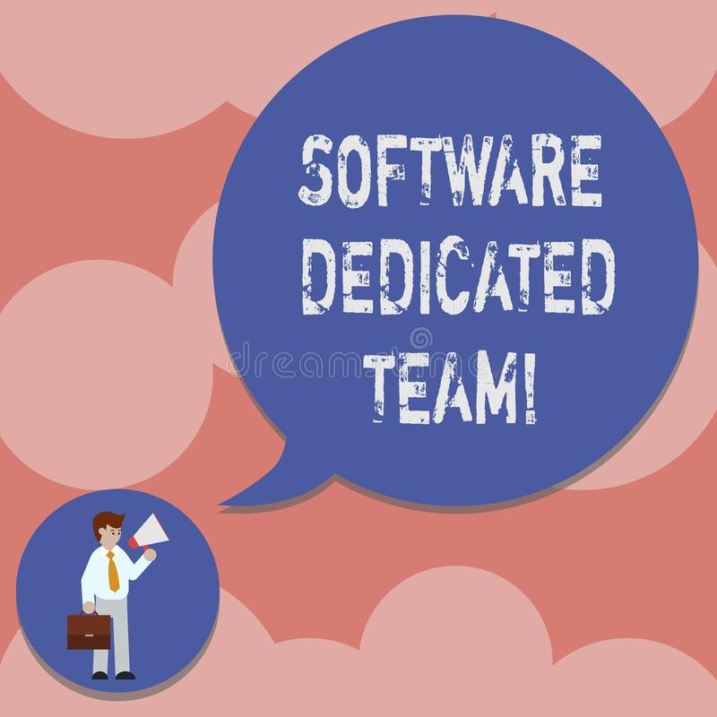 Writing note showing Software Dedicated Team. Business photo showcasing business approach to app and web development Man in stock illustration