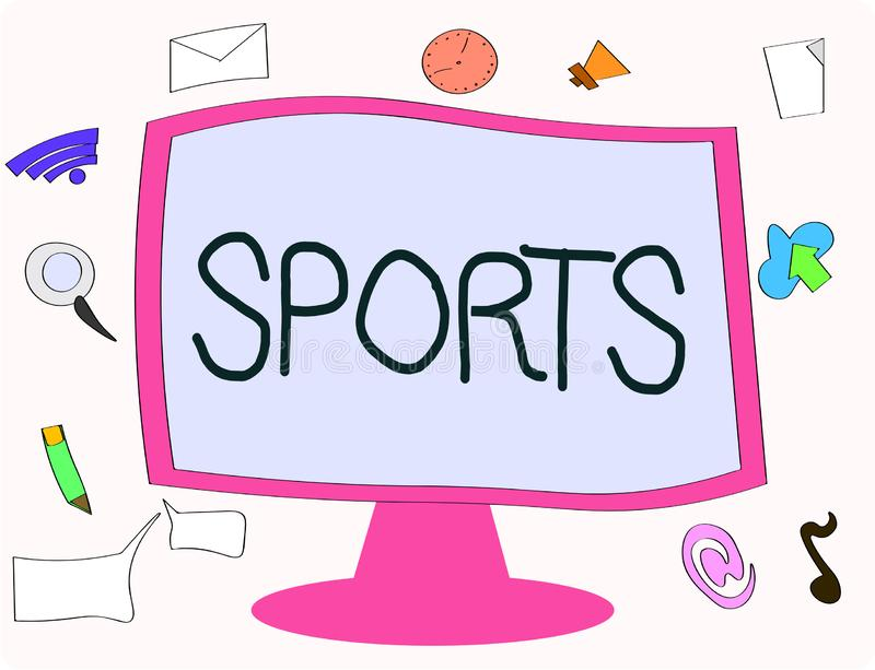 Writing note showing Sports. Business photo showcasing activity physical exertion and skill individual or team competes.  stock illustration