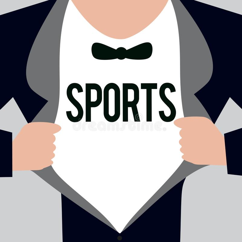 Writing note showing Sports. Business photo showcasing activity physical exertion and skill individual or team competes.  vector illustration