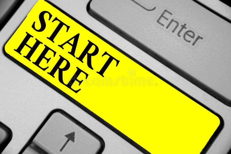 Writing note showing Start Here. Business photo showcasing telling someone this is beginning point to go from to destination Keybo. Ard yellow key Intention vector illustration