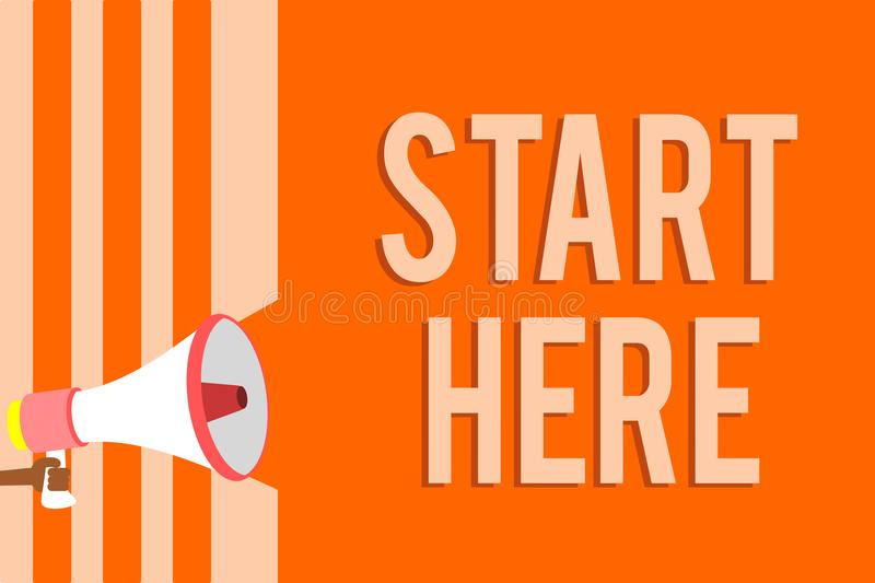 Writing note showing Start Here. Business photo showcasing telling someone this is beginning point to go from to destination Megap. Hone loudspeaker orange vector illustration