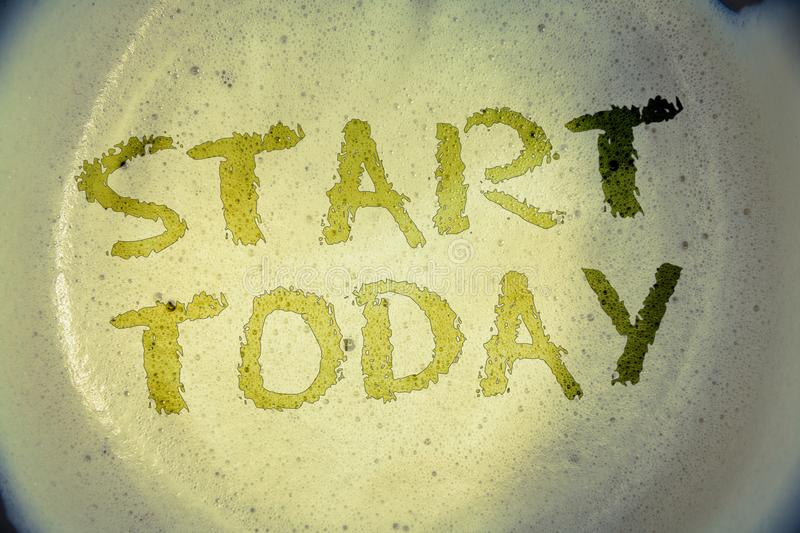 Writing note showing Start Today. Business photos showcasing Initiate Begin right now Inspirational Motivational phraseIdeas mess. Writing note showing Start royalty free stock images