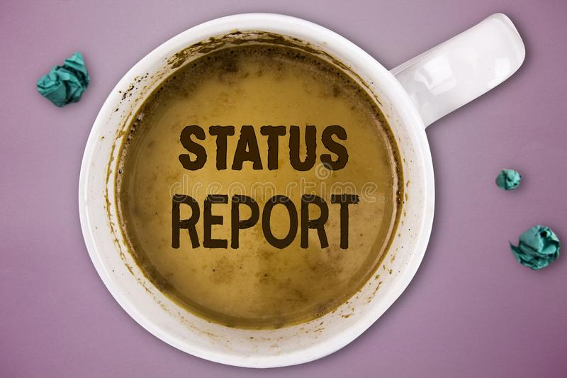 Writing note showing Status Report. Business photo showcasing Update Summary of situations as of a period of time.  stock images