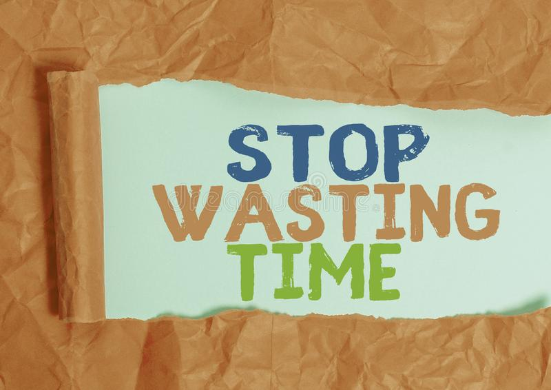 Writing note showing Stop Wasting Time. Business photo showcasing advising demonstrating or group start planning and use. Writing note showing Stop Wasting Time royalty free stock photo