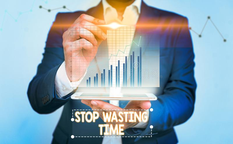 Writing note showing Stop Wasting Time. Business photo showcasing advising demonstrating or group start planning and use. Writing note showing Stop Wasting Time royalty free stock image
