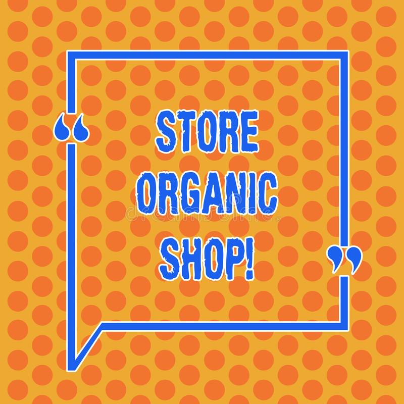 Writing note showing Store Organic Shop. Business photo showcasing type of grocery store that primarily sells health. Foods Round Punch Holes Small Color stock illustration