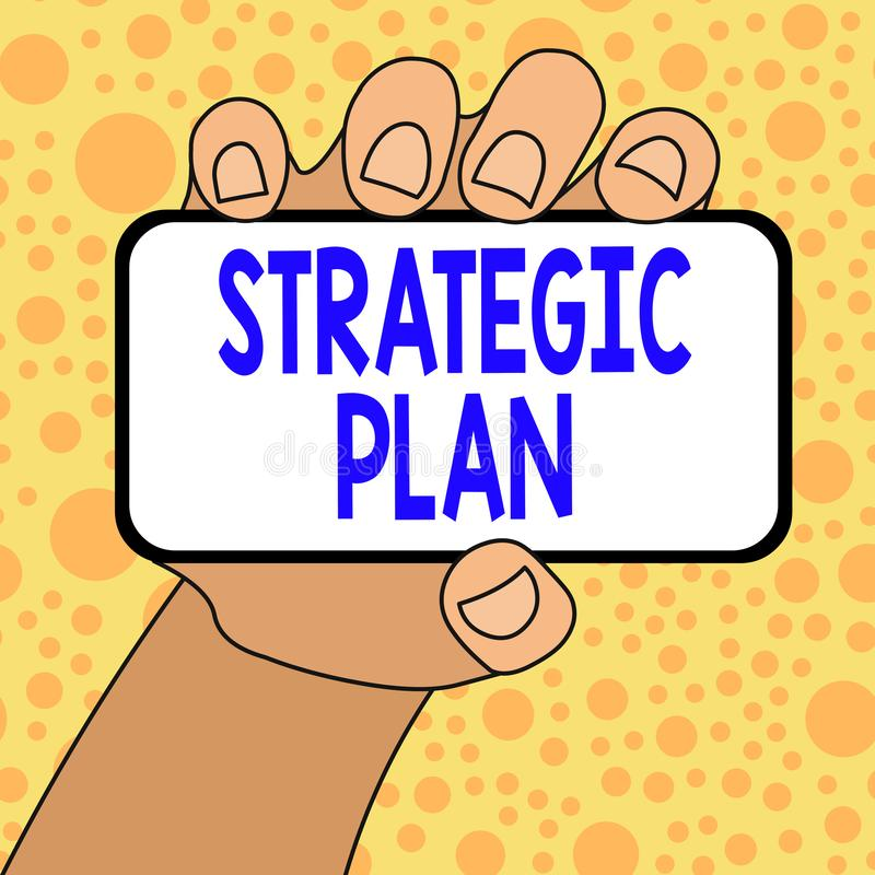 Writing note showing Strategic Plan. Business photo showcasing a systematic process of envisioning a desired future. Writing note showing Strategic Plan vector illustration