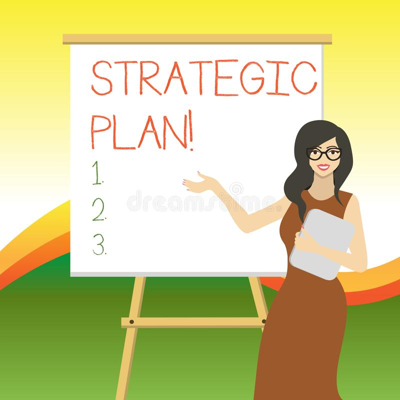 Writing note showing Strategic Plan. Business photo showcasing analysisagement activity that is used to set and focus. Writing note showing Strategic Plan royalty free illustration