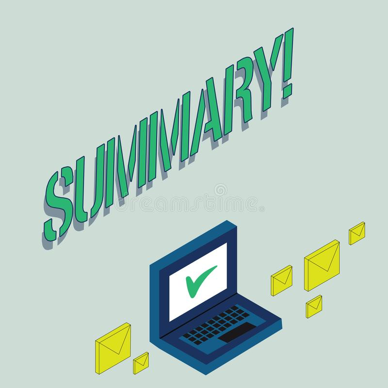 Writing note showing Summary. Business photo showcasing Brief Statement Abstract Synopsis Concise Abbreviated version. Writing note showing Summary. Business vector illustration