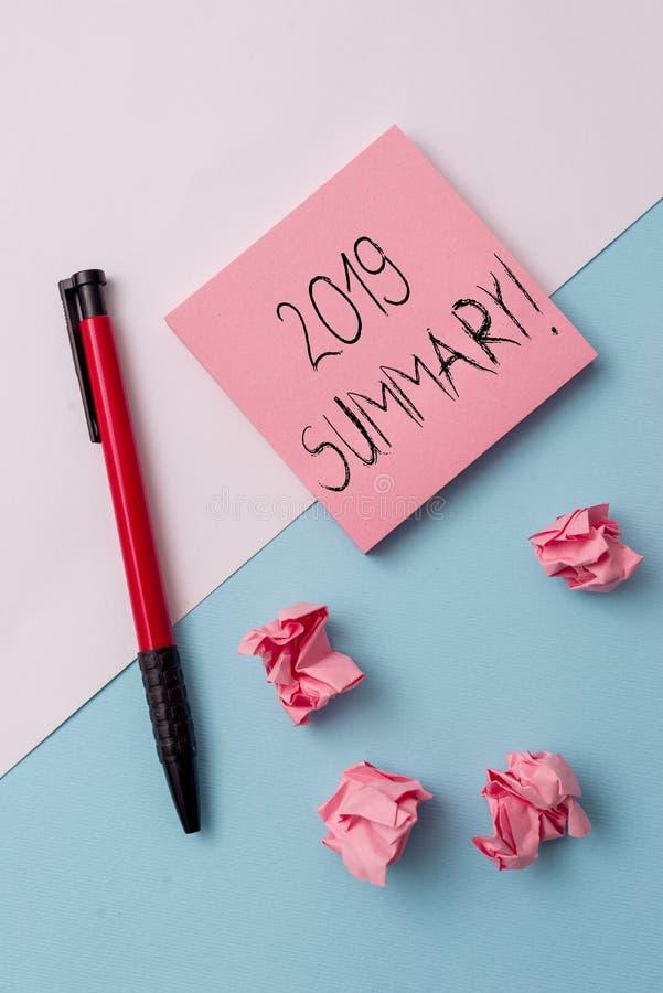 Writing note showing 2019 Summary. Business photo showcasing summarizing past year events main actions or good shows. Writing note showing 2019 Summary. Business royalty free stock photo