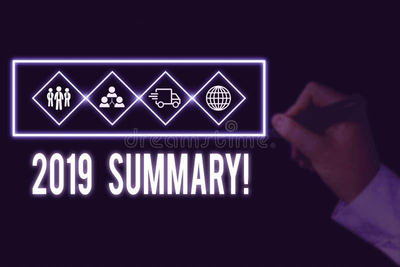 Writing note showing 2019 Summary. Business photo showcasing summarizing past year events main actions or good shows Picture photo. Writing note showing 2019 royalty free stock photo