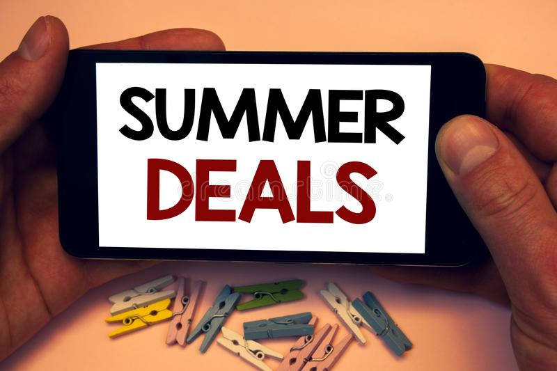 Writing note showing Summer Deals. Business photos showcasing Special Sales Offers for Vacation Holiday Trips Price Discounts. Writing note showing Summer Deals royalty free stock photography