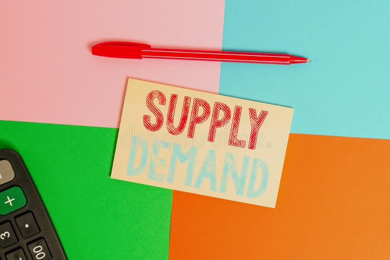 Writing note showing Supply Deanalysisd. Business photo showcasing Relationship between the amounts available and wanted. Writing note showing Supply Deanalysisd stock photos