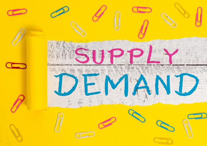 Writing note showing Supply Deanalysisd. Business photo showcasing Relationship between the amounts available and wanted. Writing note showing Supply Deanalysisd stock images