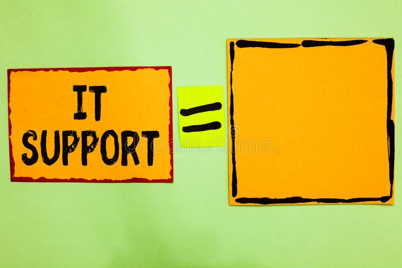 Writing note showing It Support. Business photo showcasing Lending help about information technologies and relative issues Orange stock image