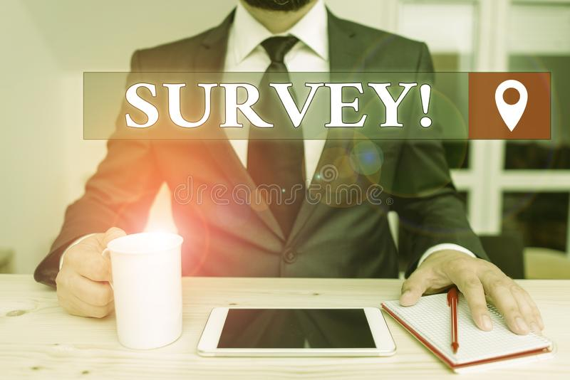 Writing note showing Survey. Business photo showcasing research method used for collecting data from a predefined group. Writing note showing Survey. Business royalty free stock image