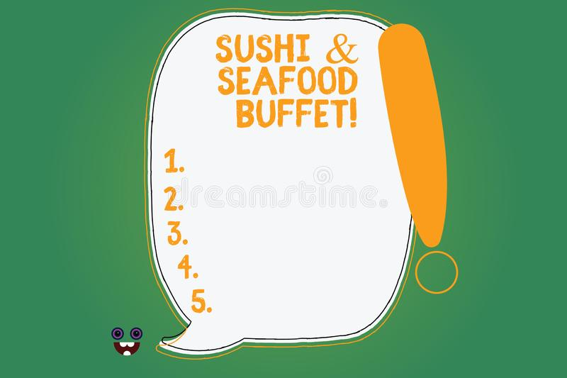 Writing note showing Sushi And Seafood Buffet. Business photo showcasing Japanese food fish dishes available for choose stock illustration