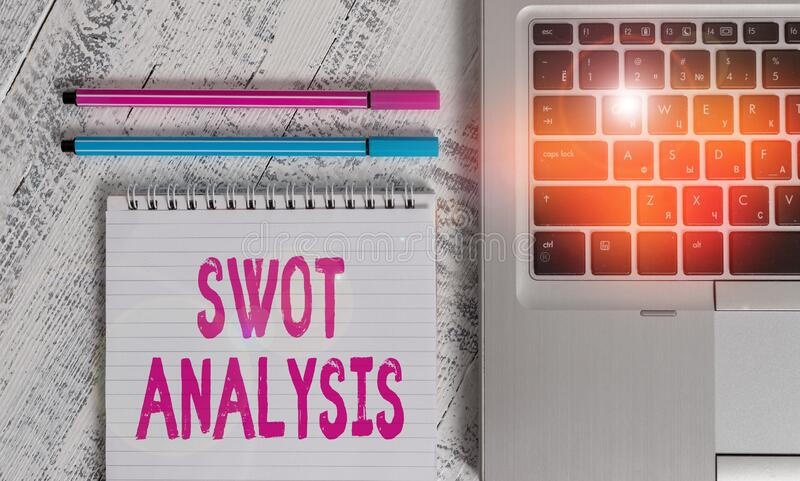 Writing note showing Swot Analysis. Business photo showcasing framework used to evaluate a company competitive position Metallic. Writing note showing Swot stock images