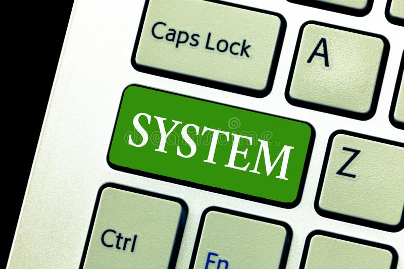 Writing note showing System. Business photo showcasing set of things working together as parts mechanism or network stock photography