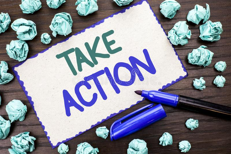 Writing note showing Take Action. Business photo showcasing Strategy Future Actions Procedure Activity Goal Objective written on. Writing note showing Take royalty free stock photos
