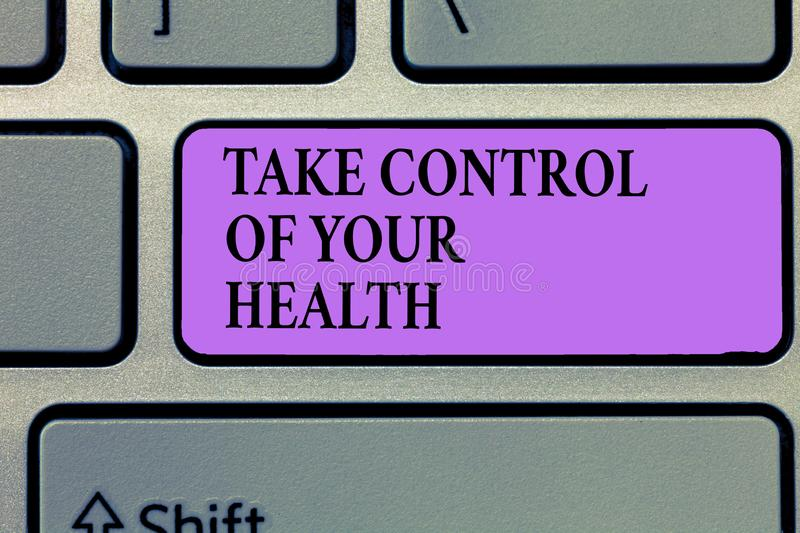 Writing note showing Take Control Of Your Health. Business photo showcasing Balance Life integrate Wellness and Fitness stock photo