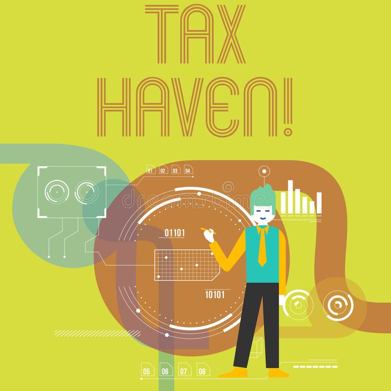 Writing note showing Tax Haven. Business photo showcasing country or independent area where taxes are levied at low rate. Writing note showing Tax Haven royalty free illustration