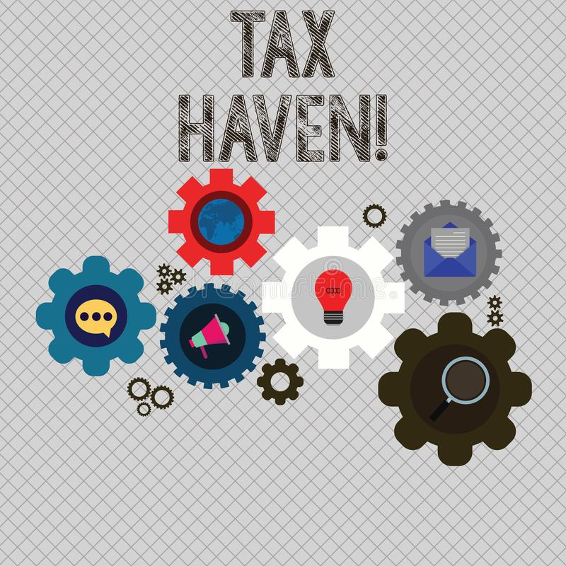 Writing note showing Tax Haven. Business photo showcasing country or independent area where taxes are levied at low rate. Writing note showing Tax Haven stock illustration