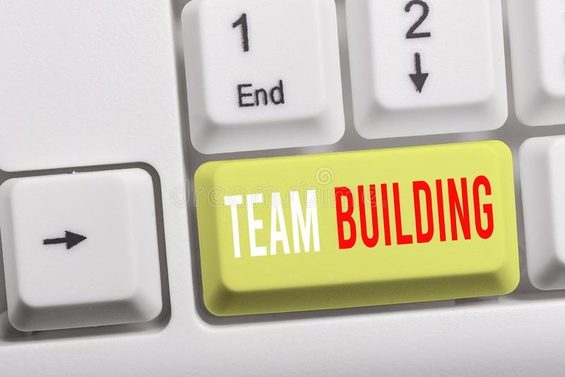 Writing note showing Team Building. Business photo showcasing various types of activities used to enhance social. Writing note showing Team Building. Business royalty free stock photos