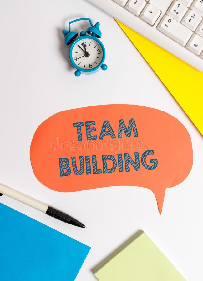 Writing note showing Team Building. Business photo showcasing various types of activities used to enhance social. Writing note showing Team Building. Business royalty free stock images