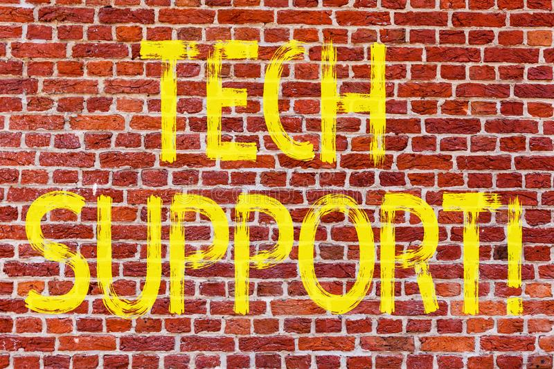 Writing note showing Tech Support. Business photo showcasing Help given by technician Online or Call Center Customer Service Brick stock image