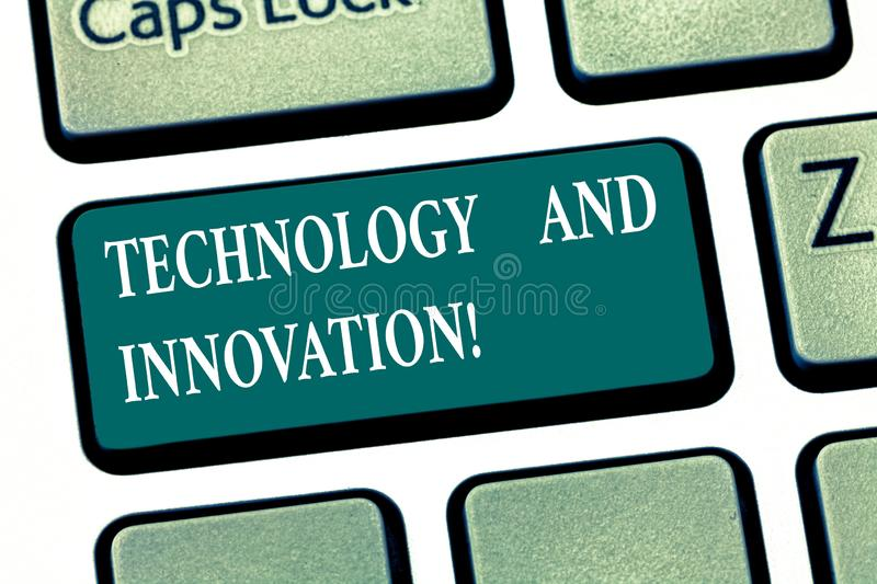 Writing note showing Technology And Innovation. Business photo showcasing Technological changes of products and services. Keyboard key Intention to create royalty free illustration